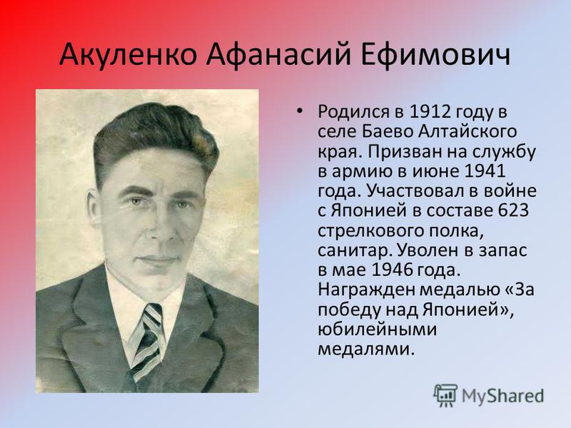 Акуленко Афанасий Ефимович Родился в 1912 году в селе Баево Алтайского края. Призван на службу в армию в июне 1941 года. Участвовал в войне с Японией в составе 623 стрелкового полка, санитар. Уволен в запас в мае 1946 года. Награжден медалью «За побе