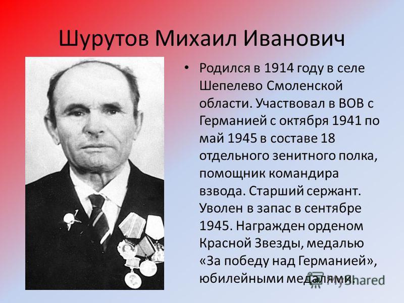 Шурутов Михаил Иванович Родился в 1914 году в селе Шепелево Смоленской области. Участвовал в ВОВ с Германией с октября 1941 по май 1945 в составе 18 отдельного зенитного полка, помощник командира взвода. Старший сержант. Уволен в запас в сентябре 194
