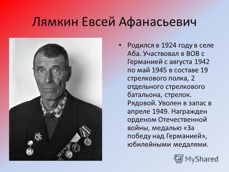 Лямкин Евсей Афанасьевич Родился в 1924 году в селе Аба. Участвовал в ВОВ с Германией с августа 1942 по май 1945 в составе 19 стрелкового полка, 2 отдельного стрелкового батальона, стрелок. Рядовой. Уволен в запас в апреле 1949. Награжден орденом Оте