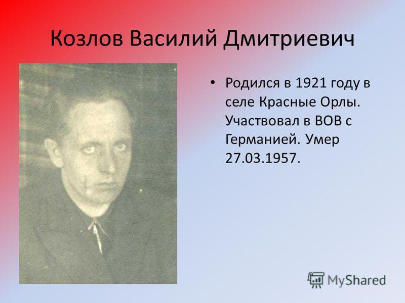 Козлов Василий Дмитриевич Родился в 1921 году в селе Красные Орлы. Участвовал в ВОВ с Германией. Умер 27.03.1957.