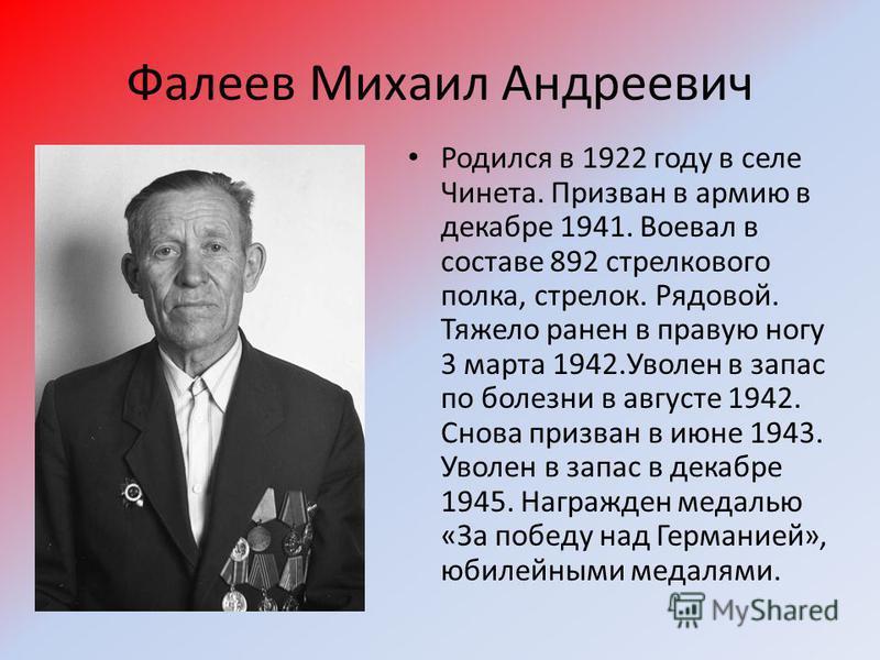 Фалеев Михаил Андреевич Родился в 1922 году в селе Чинета. Призван в армию в декабре 1941. Воевал в составе 892 стрелкового полка, стрелок. Рядовой. Тяжело ранен в правую ногу 3 марта 1942. Уволен в запас по болезни в августе 1942. Снова призван в ию