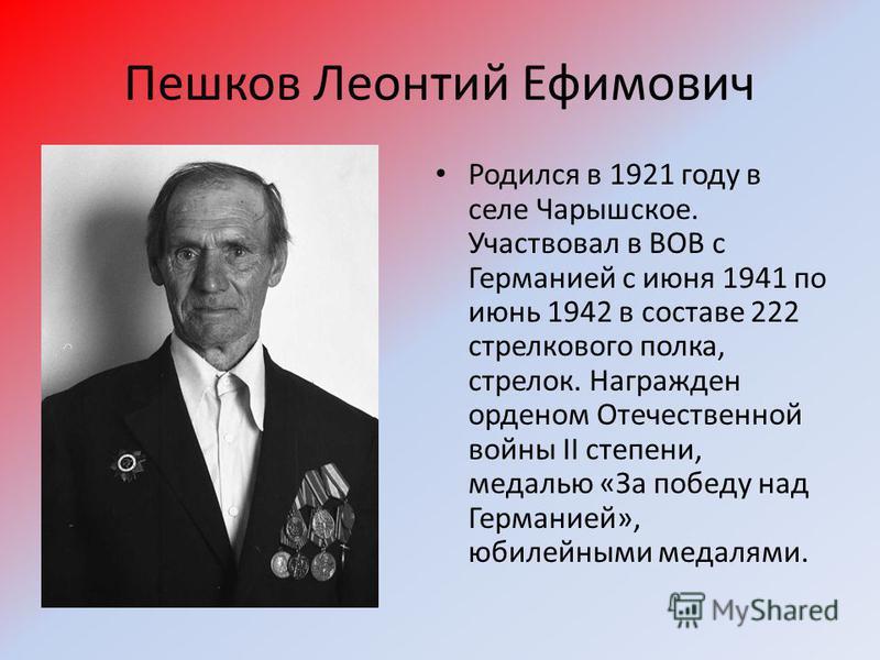 Пешков Леонтий Ефимович Родился в 1921 году в селе Чарышское. Участвовал в ВОВ с Германией с июня 1941 по июнь 1942 в составе 222 стрелкового полка, стрелок. Награжден орденом Отечественной войны II степени, медалью «За победу над Германией», юбилейн