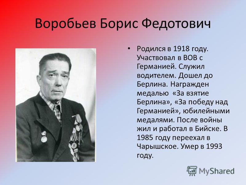 Воробьев Борис Федотович Родился в 1918 году. Участвовал в ВОВ с Германией. Служил водителем. Дошел до Берлина. Награжден медалью «За взятие Берлина», «За победу над Германией», юбилейными медалями. После войны жил и работал в Бийске. В 1985 году пер