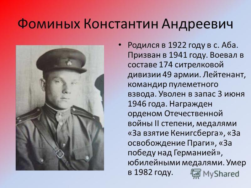 Фоминых Константин Андреевич Родился в 1922 году в с. Аба. Призван в 1941 году. Воевал в составе 174 ситрелковой дивизии 49 армии. Лейтенант, командир пулеметного взвода. Уволен в запас 3 июня 1946 года. Награжден орденом Отечественной войны II степе