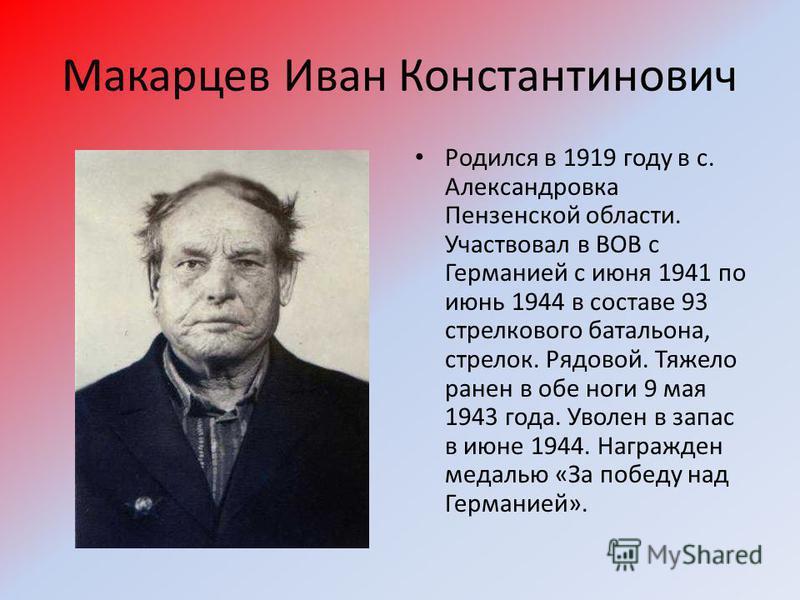 Макарцев Иван Константинович Родился в 1919 году в с. Александровка Пензенской области. Участвовал в ВОВ с Германией с июня 1941 по июнь 1944 в составе 93 стрелкового батальона, стрелок. Рядовой. Тяжело ранен в обе ноги 9 мая 1943 года. Уволен в запа