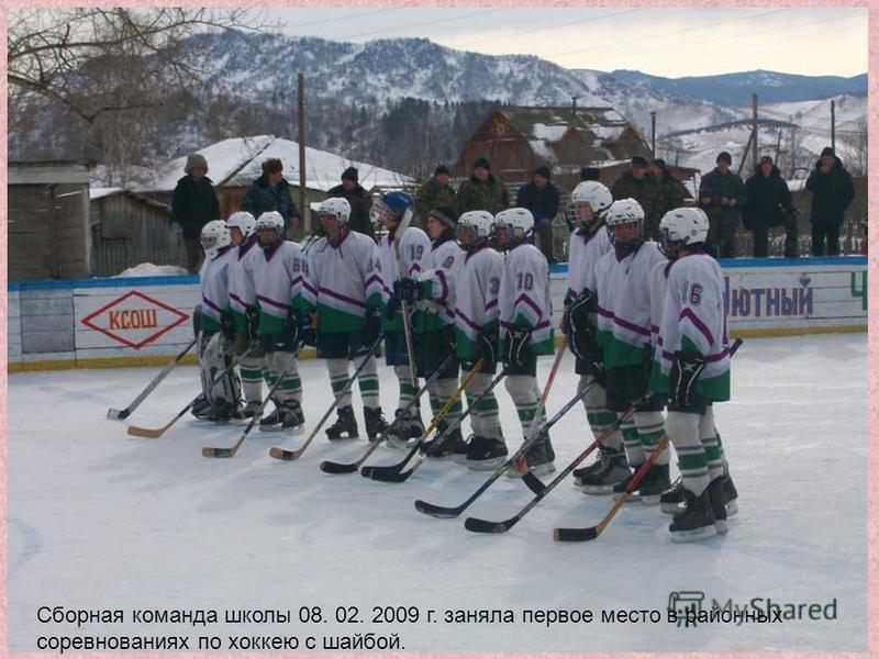 Сборная команда школы 08. 02. 2009 г. заняла первое место в районных соревнованиях по хоккею с шайбой.