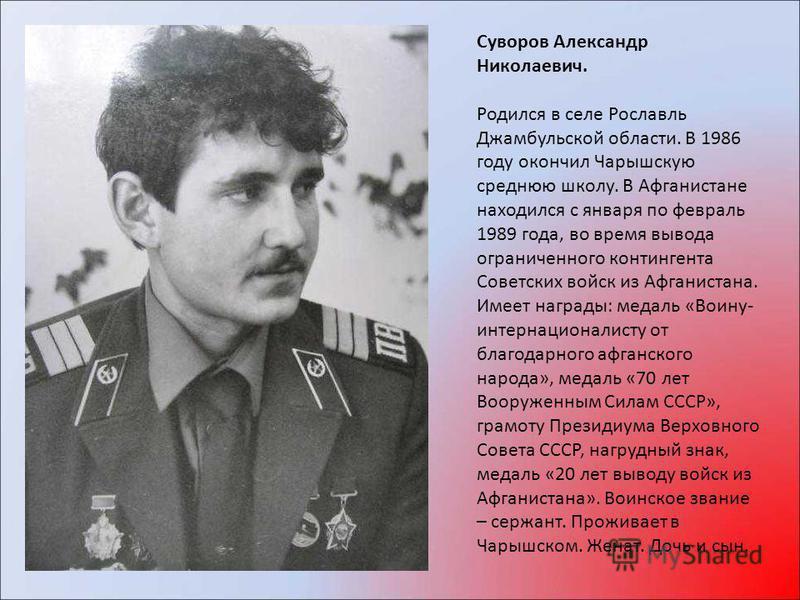 Суворов Александр Николаевич. Родился в селе Рославль Джамбульской области. В 1986 году окончил Чарышскую среднюю школу. В Афганистане находился с января по февраль 1989 года, во время вывода ограниченного контингента Советских войск из Афганистана.