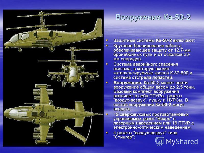 Вооружение Ка-50-2 Защитные системы Ка-50-2 включают: Защитные системы Ка-50-2 включают: Круговое бронирование кабины, обеспечивающее защиту от 12.7-мм бронебойных пуль и от осколков 23- мм снарядов. Круговое бронирование кабины, обеспечивающее защит