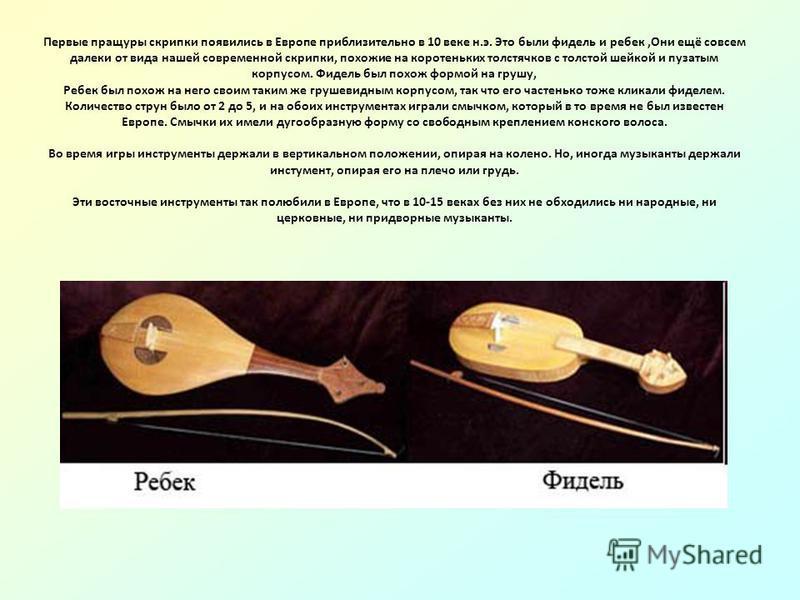 Первые пращуры скрипки появились в Европе приблизительно в 10 веке н.э. Это были фидель и ребеккака,Они ещё совсем далеки от вида нашей современной скрипки, похожие на коротеньких толстячков с толстой шейкой и пузатым корпусом. Фидель был похож формо
