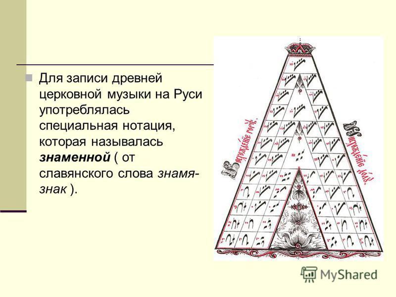 Для записи древней церковной музыки на Руси употреблялась специальная нотация, которая называлась знаменной ( от славянского слова знамя- знак ).