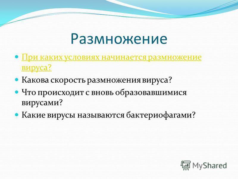 Размножение При каких условиях начинается размножение вируса? При каких условиях начинается размножение вируса? Какова скорость размножения вируса? Что происходит с вновь образовавшимися вирусами? Какие вирусы называются бактериофагами?
