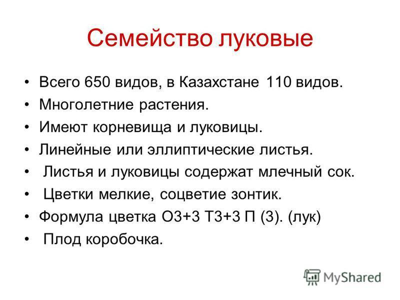 Семейство луковые Всего 650 видов, в Казахстане 110 видов. Многолетние растения. Имеют корневища и луковицы. Линейные или эллиптические листья. Листья и луковицы содержат млечный сок. Цветки мелкие, соцветие зонтик. Формула цветка О3+3 Т3+3 П (3). (л