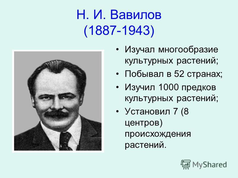 Н. И. Вавилов (1887-1943) Изучал многообразие культурных растений; Побывал в 52 странах; Изучил 1000 предков культурных растений; Установил 7 (8 центров) происхождения растений.
