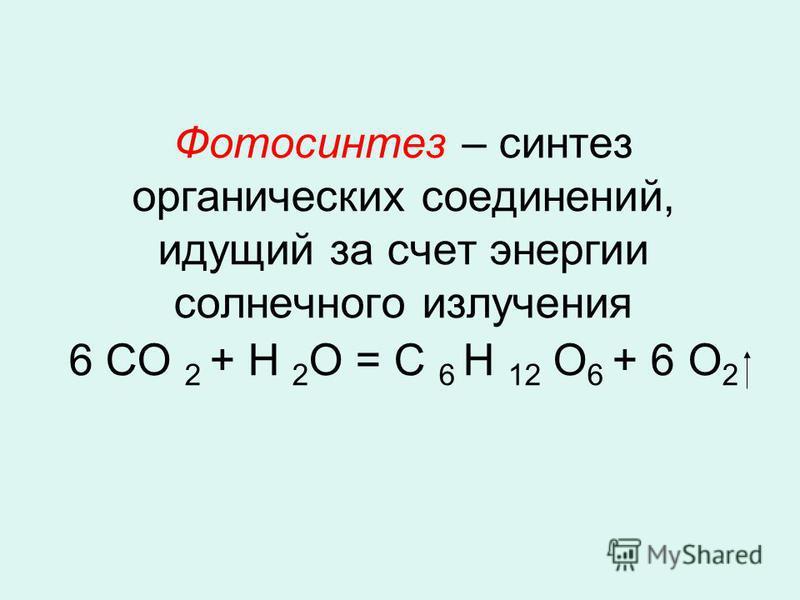Фотосинтез – синтез органических соединений, идущий за счет энергии солнечного излучения 6 СО 2 + Н 2 О = С 6 Н 12 О 6 + 6 О 2