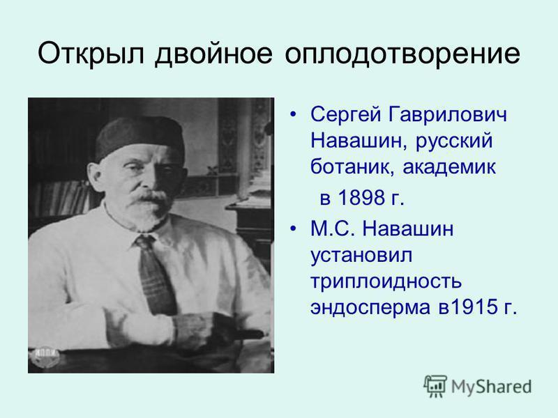 Открыл двойное оплодотворение Сергей Гаврилович Навашин, русский ботаник, академик в 1898 г. М.С. Навашин установил три плоидность эндосперма в 1915 г.