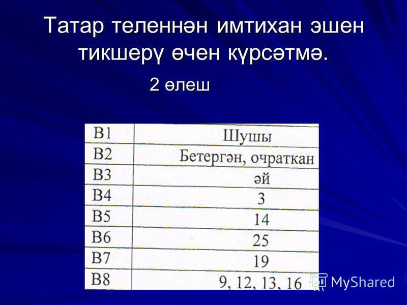Татар теленнән имтихан эшен тикшерү өчен күрсәтмә. 2 өлеш 2 өлеш
