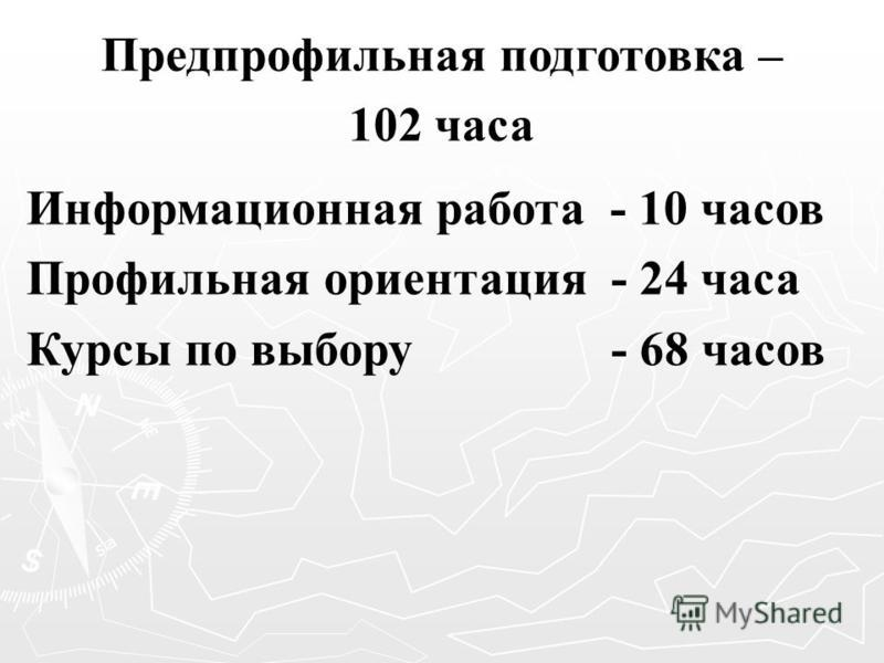 Предпрофильная подготовка – 102 часа Информационная работа - 10 часов Профильная ориентация - 24 часа Курсы по выбору - 68 часов