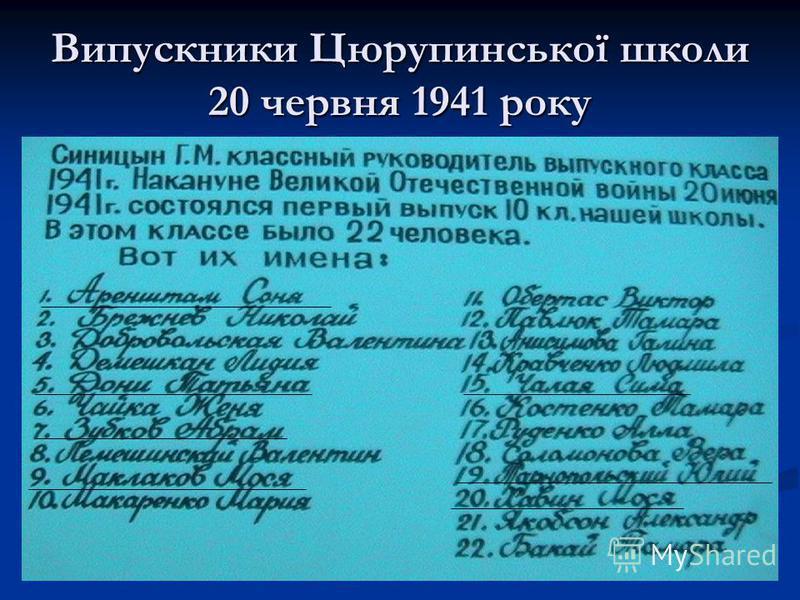 Випускники Цюрупинської школи 20 червня 1941 року