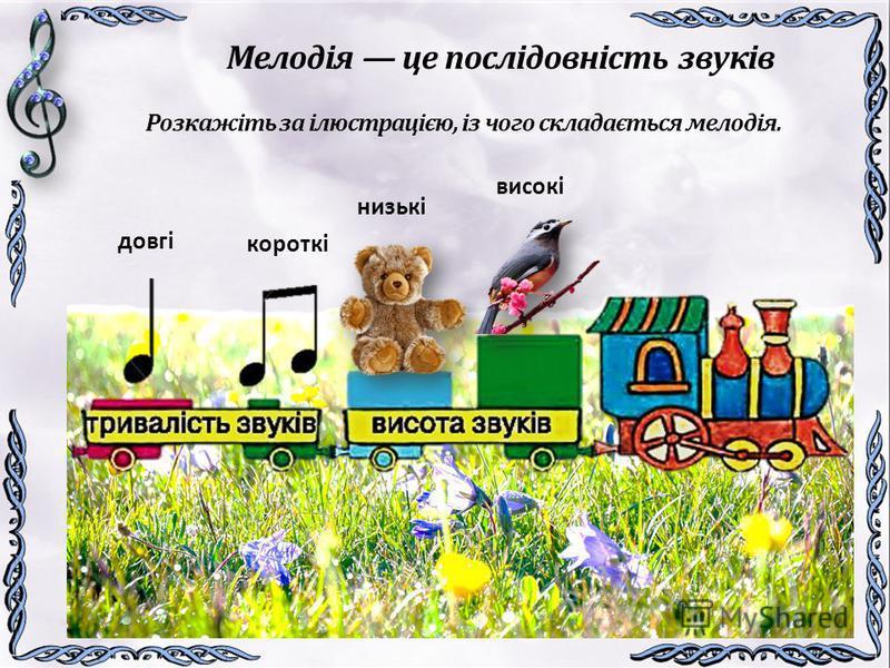 Мелодія це послідовність звуків Розкажіть за ілюстрацією, із чого складається мелодія. довгі короткі низькі високі