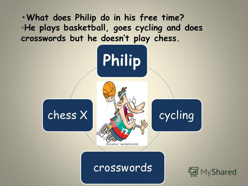 What does Philip do in his free time? He plays basketball, goes cycling and does crosswords but he doesnt play chess. Philip cyclingcrosswordschess X