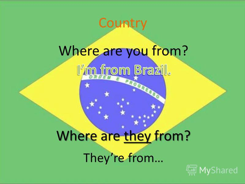 Country Where are you from? Where are they from? Theyre from…