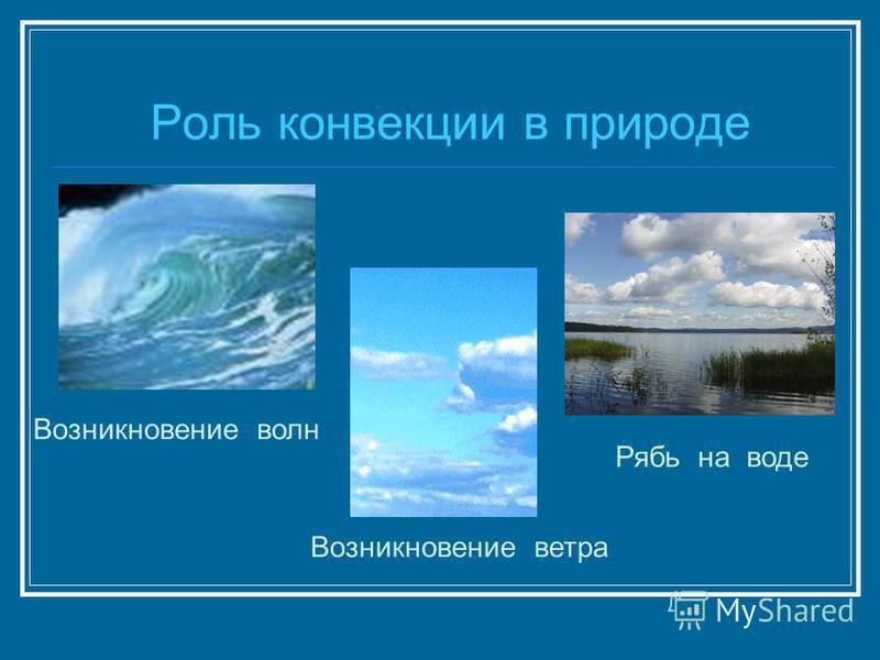 Роль конвекции в природе Возникновение волн Рябь на воде Возникновение ветра