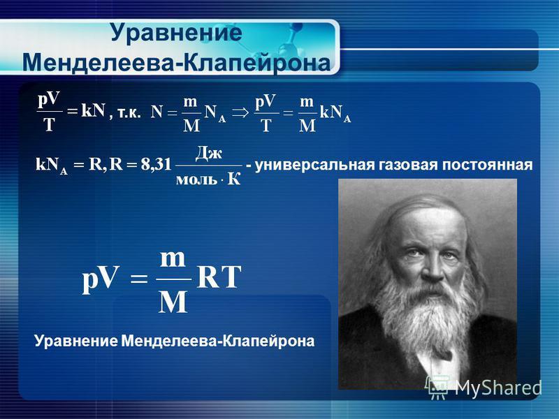 Уравнение Менделеева-Клапейрона, т.к. - универсальная газовая постоянная Уравнение Менделеева-Клапейрона