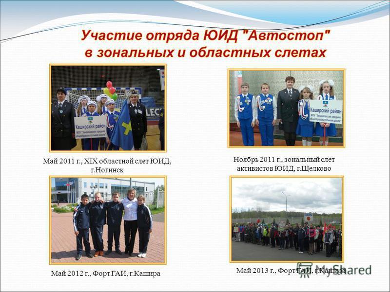 Ноябрь 2011 г., зональный слет активистов ЮИД, г.Щелково Май 2012 г., Форт ГАИ, г.Кашира Май 2013 г., Форт ГАИ, г.Кашира Май 2011 г., XIX областной слет ЮИД, г.Ногинск