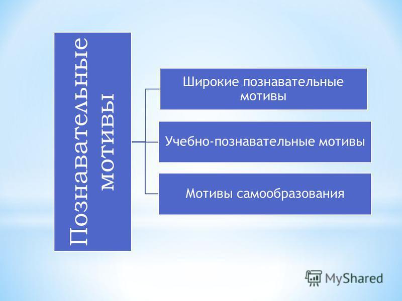 Познавательные мотивы Широкие познавательные мотивы Учебно-познавательные мотивы Мотивы самообразования