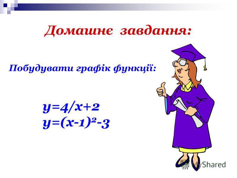 Домашнє завдання: Побудувати графік функції: y=4/x+2 y=(x-1) 2 -3