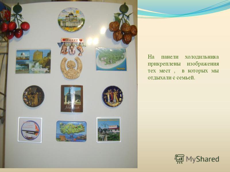 На панели холодильника прикреплены изображения тех мест, в которых мы отдыхали с семьей.