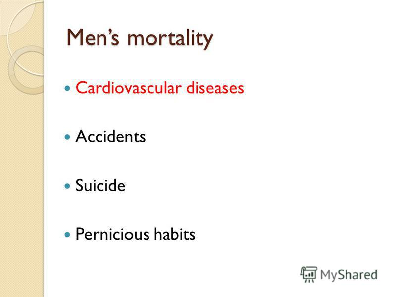 Mens mortality Cardiovascular diseases Accidents Suicide Pernicious habits