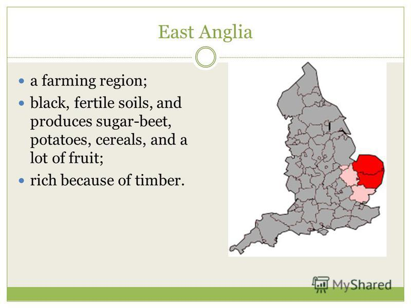East Anglia a farming region; black, fertile soils, and produces sugar-beet, potatoes, cereals, and a lot of fruit; rich because of timber.
