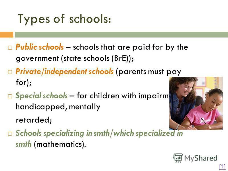describe the characteristics of the different types of schools in relation to educational stages All children in england between the ages of 5 and 16 are entitled to a free place at a state school - explain the characteristics of the different types of schools in relation to education stage(s) and school governance essay introduction there are six different categories of schools.