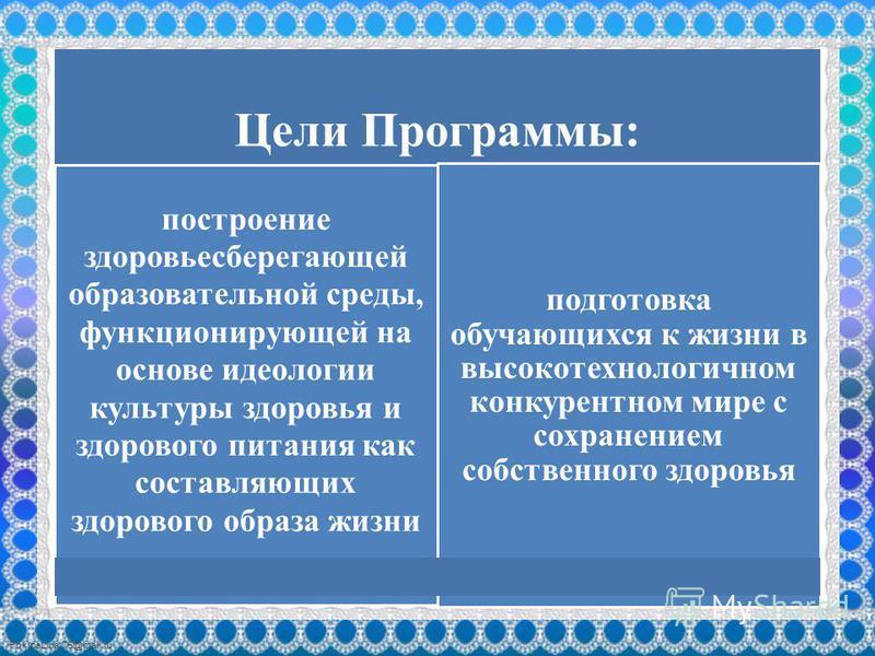 FokinaLida.75@mail.ru Цели Программы: построение здоровьесберегающей образовательной среды, функционирующей на основе идеологии культуры здоровья и здорового питания как составляющих здорового образа жизни подготовка обучающихся к жизни в высокотехно