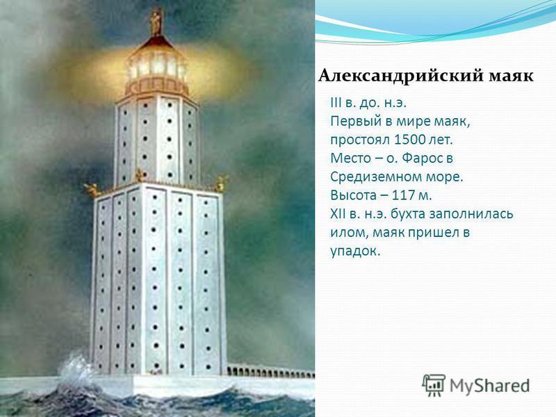 III в. до. н.э. Первый в мире маяк, простоял 1500 лет. Место – о. Фарос в Средиземном море. Высота – 117 м. XII в. н.э. бухта заполнилась илом, маяк пришел в упадок. Александрийский маяк
