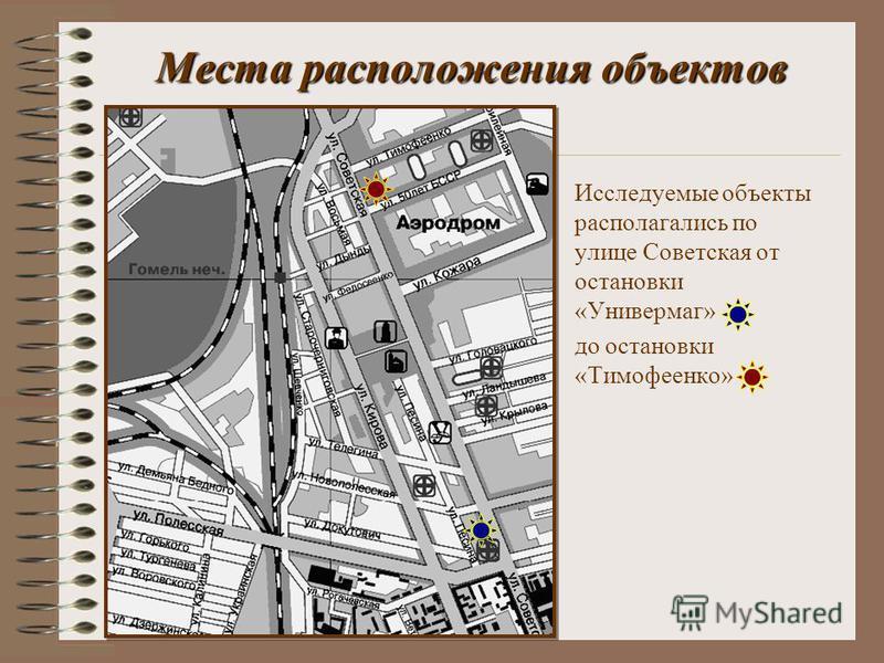 Места расположения объектов Исследуемые объекты располагались по улице Советская от остановки «Универмаг» до остановки «Тимофеенко»