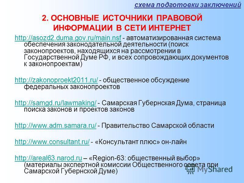 2. ОСНОВНЫЕ ИСТОЧНИКИ ПРАВОВОЙ ИНФОРМАЦИИ В СЕТИ ИНТЕРНЕТ http://asozd2.duma.gov.ru/main.nsfhttp://asozd2.duma.gov.ru/main.nsf - автоматизированная система обеспечения законодательной деятельности (поиск законопроектов, находящихся на рассмотрении в