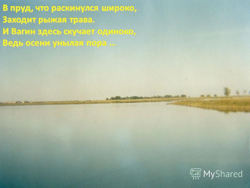 В пруд, что раскинулся широко, Заходит рыжая трава. И Вагин здесь скучает одиноко, Ведь осени унылая пора …