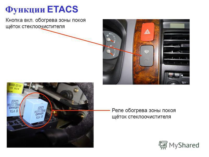 Функции ETACS Кнопка вкл. обогрева зоны покоя щёток стеклоочистителя Реле обогрева зоны покоя щёток стеклоочистителя