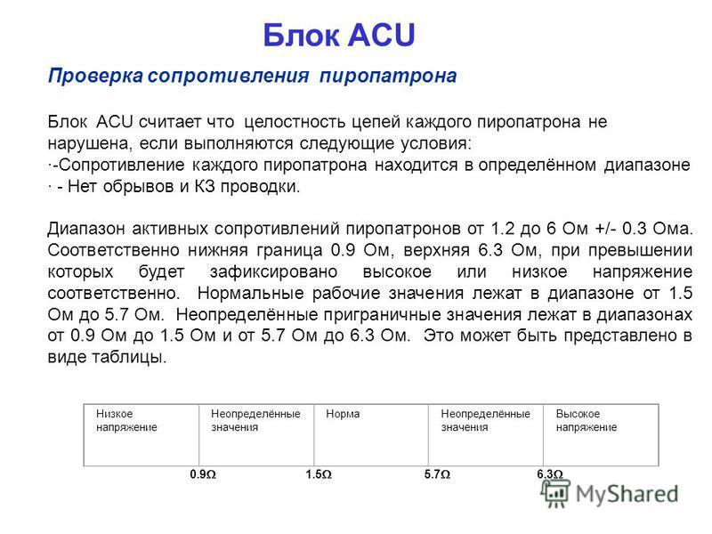 Блок ACU Проверка сопротивления пиропатрона Блок ACU считает что целостность цепей каждого пиропатрона не нарушена, если выполняются следующие условия: · - Сопротивление каждого пиропатрона находится в определённом диапазоне · - Нет обрывов и КЗ пров