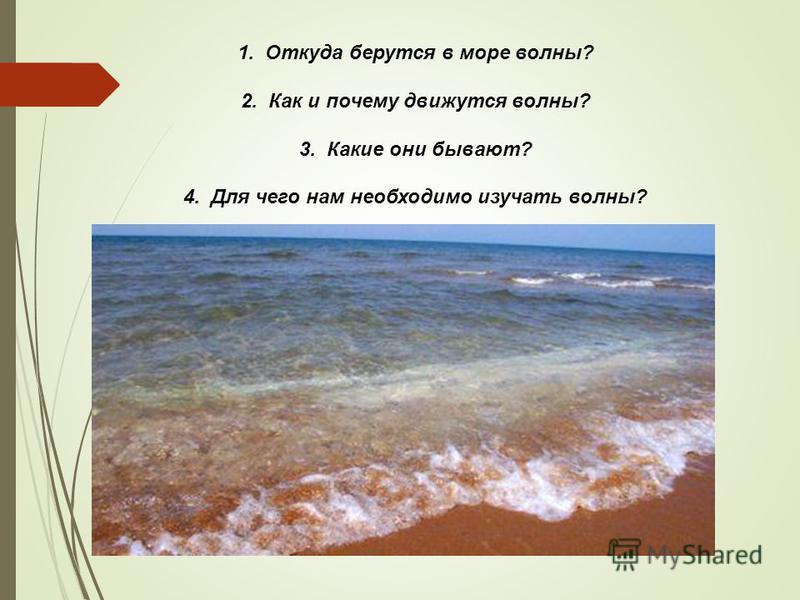 1. Откуда берутся в море волны? 2. Как и почему движутся волны? 3. Какие они бывают? 4. Для чего нам необходимо изучать волны?