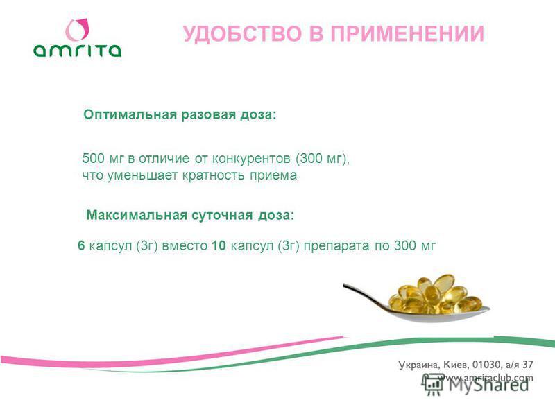 Максимальная суточная доза: УДОБСТВО В ПРИМЕНЕНИИ 500 мг в отличие от конкурентов (300 мг), что уменьшает кратность приема 6 капсул (3 г) вместо 10 капсул (3 г) препарата по 300 мг Оптимальная разовая доза: