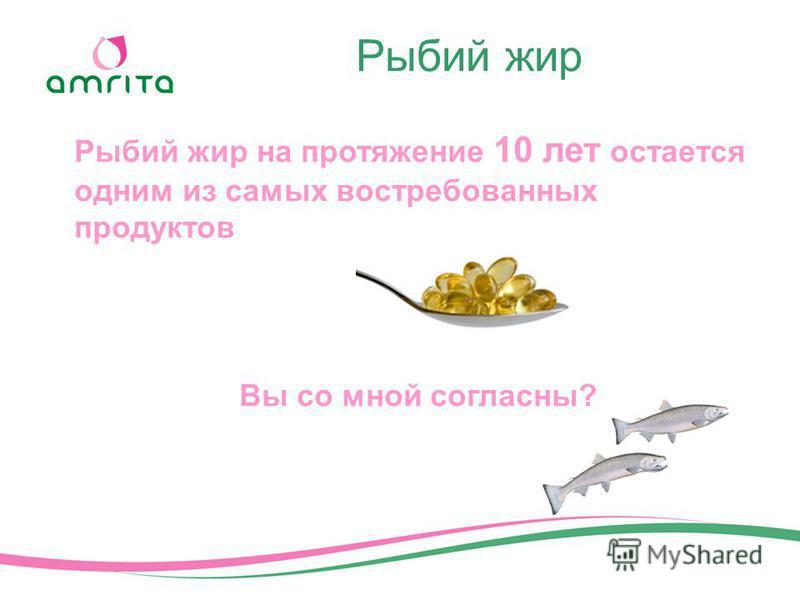 Рыбий жир Рыбий жир на протяжение 10 лет остается одним из самых востребованных продуктов Вы со мной согласны?