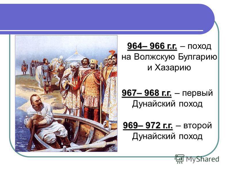 964– 966 г.г. 964– 966 г.г. – поход на Волжскую Булгарию и Хазарию 967– 968 г.г. 967– 968 г.г. – первый Дунайский поход 969– 972 г.г. 969– 972 г.г. – второй Дунайский поход