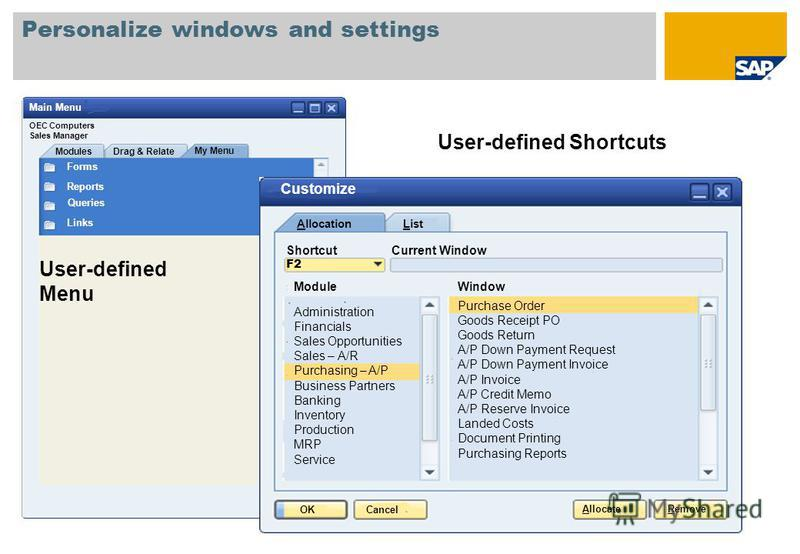 Personalize windows and settings User-defined Shortcuts User-defined Menu Forms Reports Queries Links Modules Drag & Relate My Menu OEC Computers Sales Manager Main Menu OKCancel ListAllocation ShortcutCurrent Window F2 ModuleWindow Administration Fi