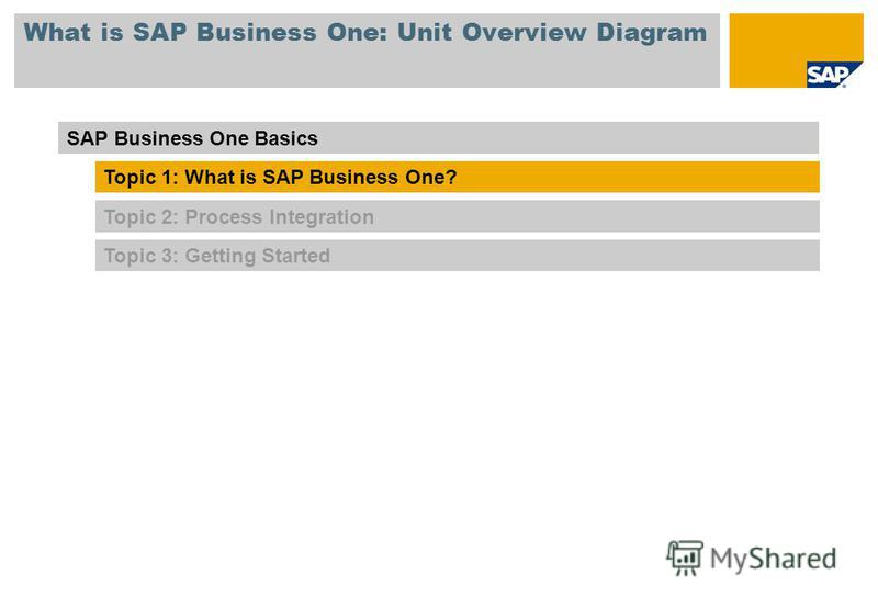 What is SAP Business One: Unit Overview Diagram Topic 3: Getting Started SAP Business One Basics Topic 1: What is SAP Business One? Topic 2: Process Integration