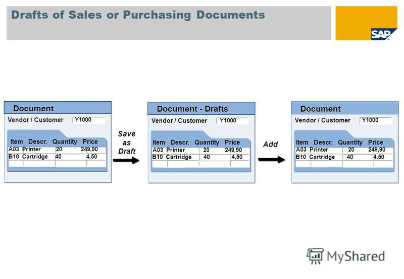 Drafts of Sales or Purchasing Documents Vendor / Customer Document Item Descr. Quantity Price Y1000 A03 Printer 20 249,90 B10 Cartridge 40 4,50 Vendor / Customer Document - Drafts Item Descr. Quantity Price Y1000 A03 Printer 20 249,90 B10 Cartridge 4