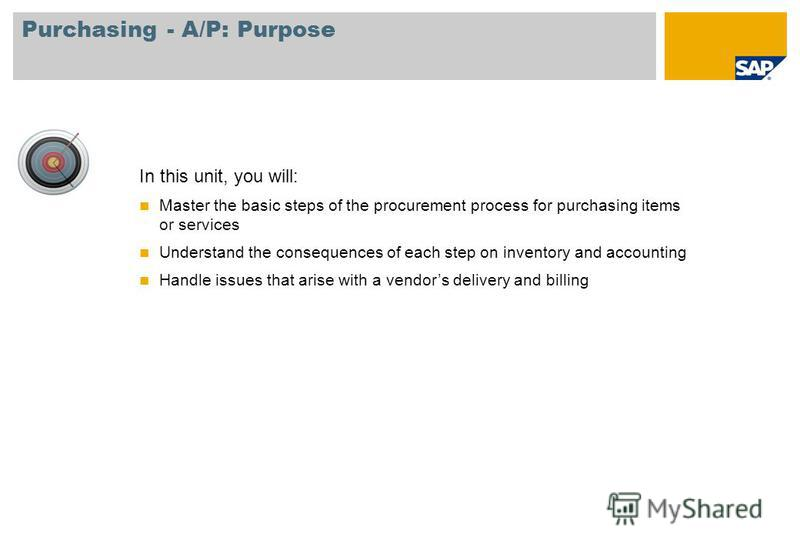 In this unit, you will: Master the basic steps of the procurement process for purchasing items or services Understand the consequences of each step on inventory and accounting Handle issues that arise with a vendors delivery and billing Purchasing -