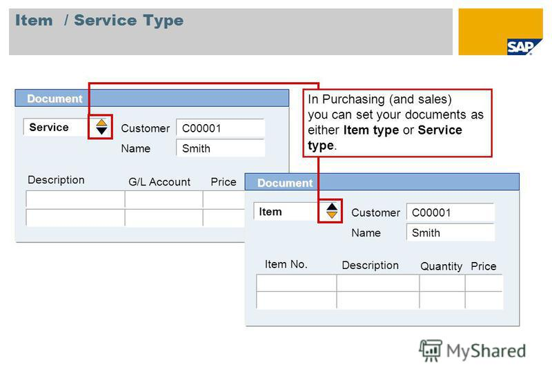 Item / Service Type Service Customer Description Document G/L Account Price C00001 Name Smith Item Customer Item No. Document Description Quantity C00001 Name Smith Price In Purchasing (and sales) you can set your documents as either Item type or Ser